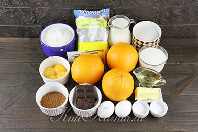 Ингредиенты для шоколадно апелсинового торта