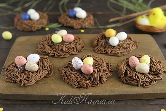 Шоколадные гнезда на Пасху готовы