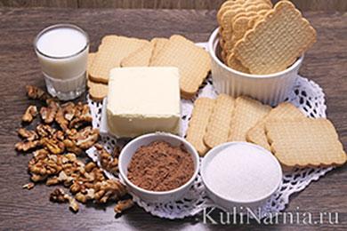 Ингредиенты для колбасок из печенья