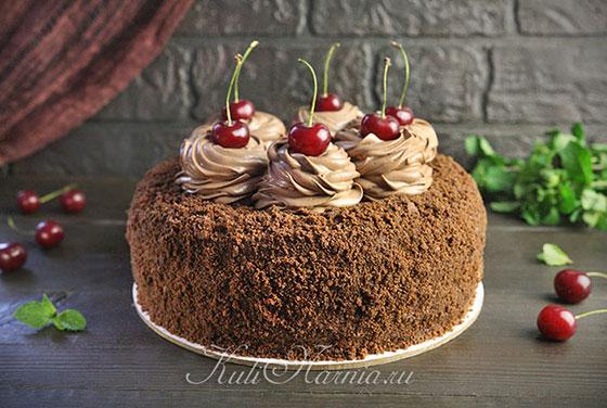 Оформление шоколадного торта с вишней